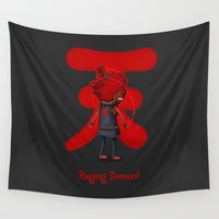 demon Wall Tapestries featuring Raging Demon by Glimy