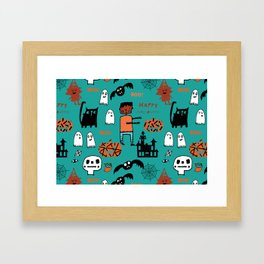 Cute Frankenstein and friends teal #halloween Framed Art Print