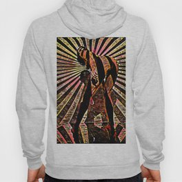 6058-KMA Abstract Nude Woman Bending Over in Red Black Hoody