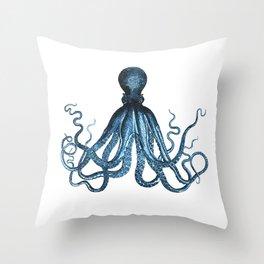 Octopus coastal ocean blue watercolor Throw Pillow