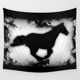 Western-look Galloping Horse Silhouette Wall Tapestry