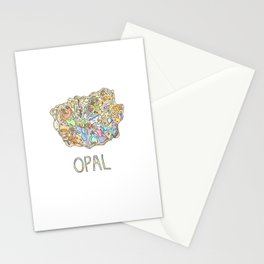 Opal Gemstone / October Birthstone Watercolor Painting / Illustration Stationery Cards