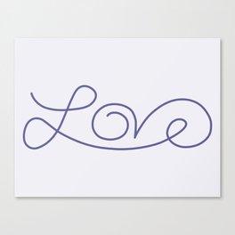 Love calligraphy print - Smokey purple with pale purple background Canvas Print