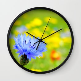 Bachelor's Buttons Flower Wall Clock