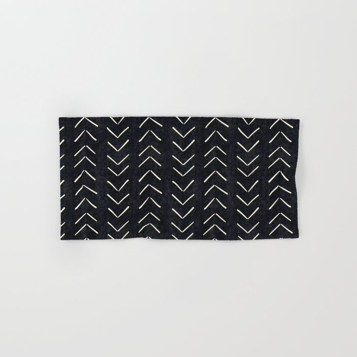 Mudcloth Big Arrows in Black and White Hand & Bath Towel