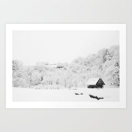Winter Forest (Black and White) Art Print