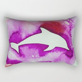 Dolphin surrounded by pink Rectangular Pillow