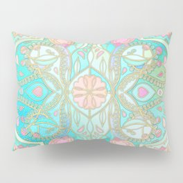 Floral Moroccan in Spring Pastels - Aqua, Pink, Mint & Peach Pillow Sham