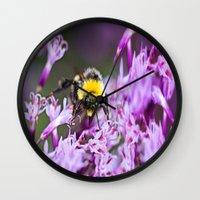 bee Wall Clocks featuring Bee by Dora Birgis