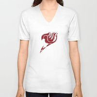 fairy tail V-neck T-shirts featuring Fairy Tail Segmented Logo Natsu by JoshBeck