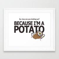 portal 2 Framed Art Prints featuring Glados Portal 2 Potato by Komrod