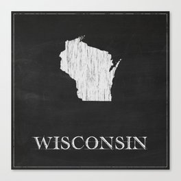 Wisconsin State Map Chalk Drawing Canvas Print