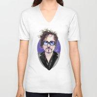 tim burton V-neck T-shirts featuring TIM BURTON by ●•VINCE•●