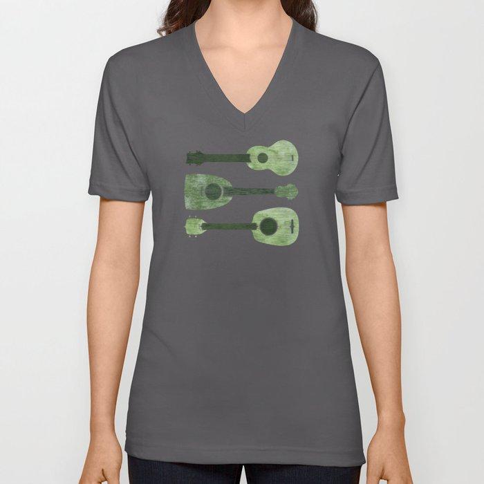Hawaiian Ukuleles - Emerald Green Unisex V-Neck
