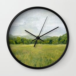 Vermont Landscape Mountain Fields Trees Pastures Oil Painting Wall Clock