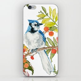 Bluejay Bird Day Floral iPhone Skin