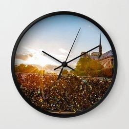 Sunset At Notre Dame De Paris Wall Clock