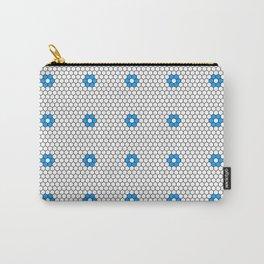 Blue Flower Hexagon Tile Pattern Carry-All Pouch