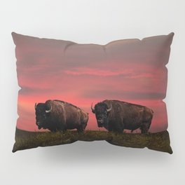 Two American Buffalo Bison at Sunset Pillow Sham