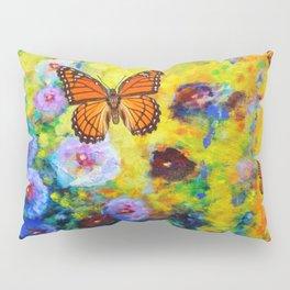 MONARCH BUTTERFLIES HOLLYHOCK YELLOW ART Pillow Sham