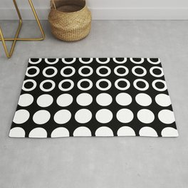 Mid Century Modern Circles And Dots Black & White Rug