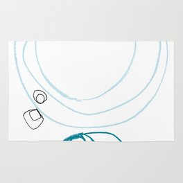 Blue Abstract Shapes Minimalist Line Drawing Rug