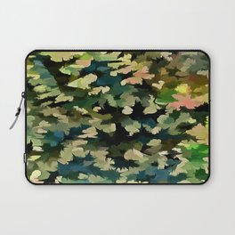Foliage Abstract In Green, Peach and Phthalo Blue Laptop Sleeve