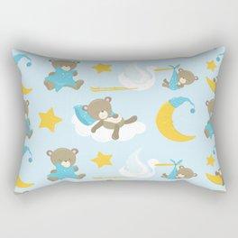 Stork With Baby Bear, Sleeping Bear, Moon, Stars Rectangular Pillow