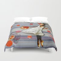 bonjour Duvet Covers featuring bonjour by Gina Geo
