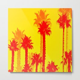 orange palm tree pattern abstract with yellow background Metal Print