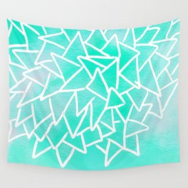 Blue turquoise watercolor geometric triangles Wall Tapestry