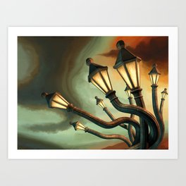 Drunk Streetlamps Art Print