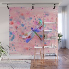 Pastel Watercolor Dragonfly Wall Mural