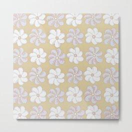 Floral design Yellow, light blue & Light Fuchsia Flowers Allover Print Metal Print