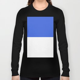 White and Royal Blue Horizontal Halves Long Sleeve T-shirt