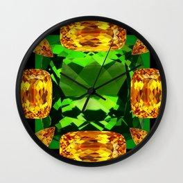 Emerald & Topaz Birthstone Gems Yellow-Green-Black Design Wall Clock
