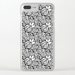 Black & White Rosettes Clear iPhone Case
