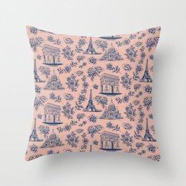 Paris Mauve Pink + Navy Pattern with Roses Throw Pillow