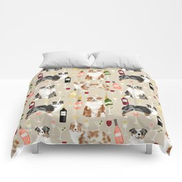 Australian Shepherd blue and red merle wine cocktails yappy hour pattern dog breed Comforters