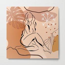 Sensual sitting woman line art, Abstract monstera leaf illustration, Organic floral background Metal Print