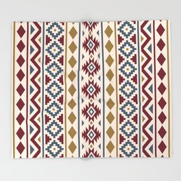 Aztec Essence Ptn III Red Blue Gold Cream Throw Blanket