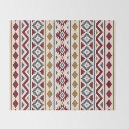 Aztec Essence Ptn III Red Blue Gold Cream Throw Blanket