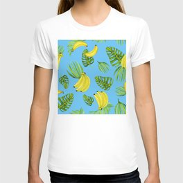 Bananas And Palm Leaves Pattern On Tropical Blue T-shirt