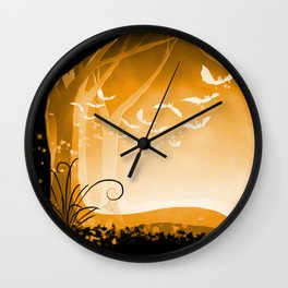 Dark Forest at Dawn in Amber Wall Clock