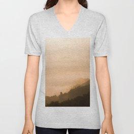 Modern Minimalist landscape Sepia Sunset Parallax Mountain Silhouette Unisex V-Neck