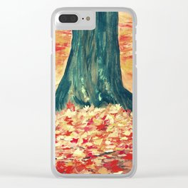 Red Leaves Autumn Fall Tree Impressionist Fine Art Clear iPhone Case