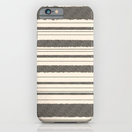 Textured Mesh Stripes in Black and Almond Cream  iPhone Case