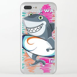 Ride The Wave Surf Shark Clear iPhone Case