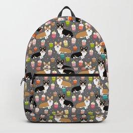 Corgi boba tea bubble tea kawaii food welsh corgis dog breed gifts Backpack