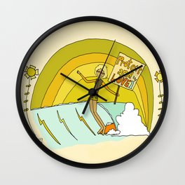 Protect and Love the Sea Lady Slider // retro surf art by surfy birdy Wall Clock